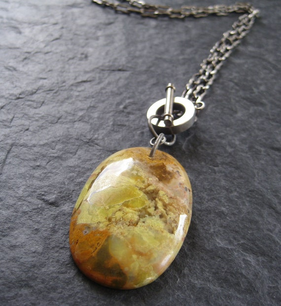 Yellow Opal with Oxidized Silver Chain Necklace