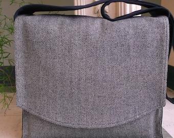 Blue Herringbone Linen Messenger Bag