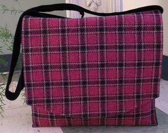 Deep Pink Plaid Wool Messenger Bag