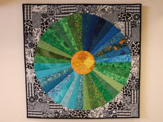 Blue and Green Sunburst Quilted Wall Hanging