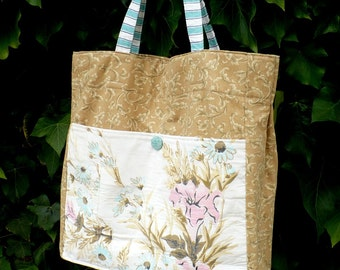 Vintage fabric, Tote Bag, retro, large, market, aqua, tan, floral, repurposed, project bag, knitting bag, weekender