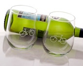 Bicycle Love Etched Stemless Wine Glasses - Set of 2