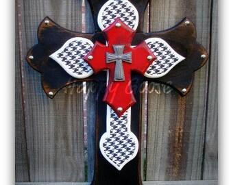 Medium Wall CROSS - Antiqued Black, White, & Crimson Red w/Houndstooth print