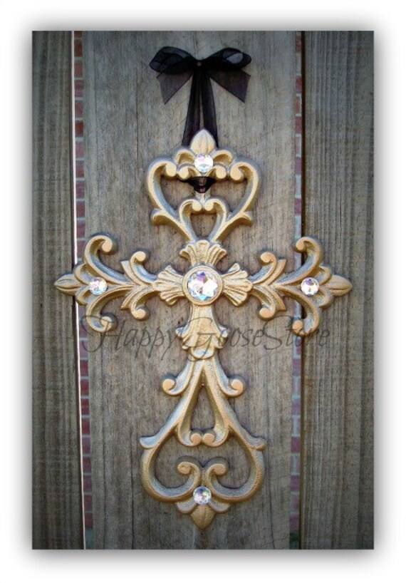 Wall Decor With Rhinestone : Wall cross iron rhinestones champagne or your choice of