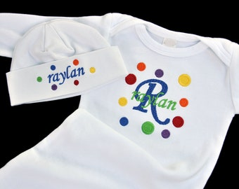 Personalized Rainbow Polka Dot Baby Gown and Beanie Hat Set