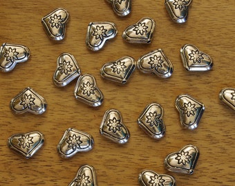 Antiqued Pewter Silver Plated Heart Beads with Flowers 11x 15mm - Set of 8