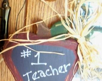 "Teacher""s Apple Wood Ornament"