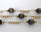 Vintage Bead Chain Amethyst Glass Brass Gold Links Cats Eye Fiber Optic chn0094 (3 feet)