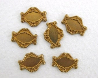 Vintage Brass Stamping Navette Setting Filigree for Cabochon 9x4mm stp0069 (8)