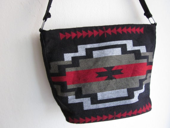 Black, Red, White and Brown Southwestern bag