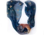 Hand painted silk scarf-Ombre silk scarf with golden stars painted by hand-Midnight blue ombre silk scarf