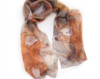 Hand painted scarf- Caramel Foxes fall in love. Long silk chiffon scarf painted. Animals scarf. Painted scarves 17/70 Birthday gifts for her