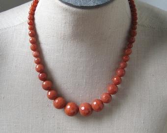 Bitter Orange Graduated Faceted Beaded Necklace 16 mm, Dark Orange Beads
