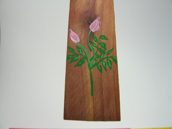 Meditation in Japanese calligraphy on a wooden Bookmark with a pink tassel