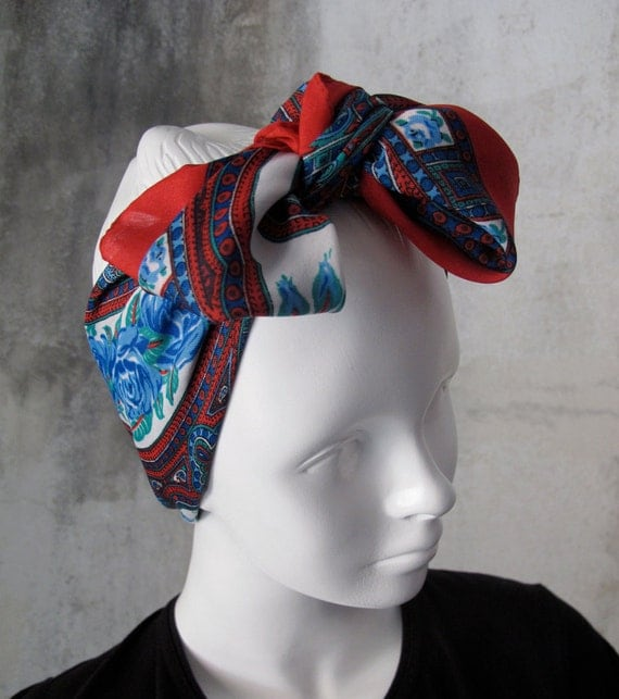 Red Blue Square Scarf, Vintage Fashion Accessory, Roses Paisley, Acetate