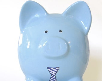 Piggy Bank with Neck Tie - Personalized Piggy Bank - Men's Piggy Bank - Piggy Bank with Suit - Manly Bank - with hole or NO hole in bottom