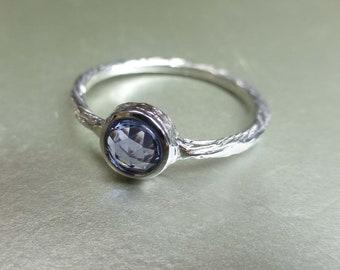 Rose cut blue sapphire engagement ring.  Textured blue sapphire ring. 14k white gold rose cut ring.