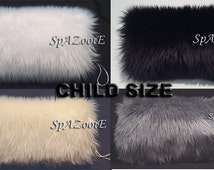 CHILD size fur hand muff warmer flower girl muff bridal CHOOSE COLOR (white, ivory, black or silver) Feather fur