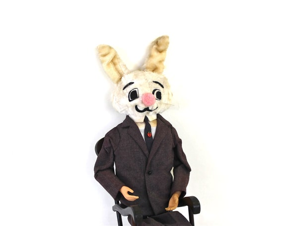 Meet the New Librarian - Vintage Bunny - Vintage Poseable Bunny on a Musical Rocking Chair