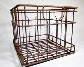 METAL MILK CRATE /  Wire Dairy Bottle Carrier Crate / Vintage