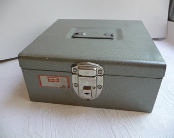 vintage Cash Box, Versa Box, metal box, storage, unique box, vintage home decor, industrial gray, metal handle, silver metal box,home office