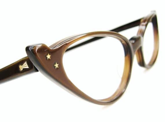Vintage Satin Brown 50s Cat Eye Sunglasses eyeglasses Frame