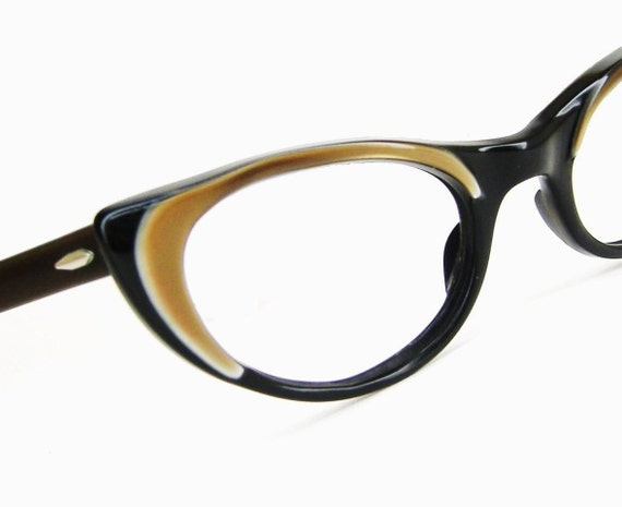 Vintage 60s Satin Brown Cat Eye Eyeglasses Frame Bausch&Lomb