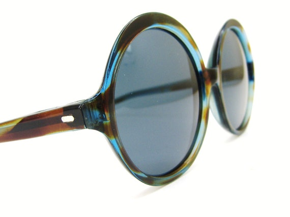 Vintage Round  80s Sunglasses Blue and Brown