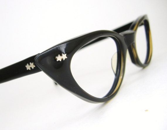 Vintage Black 50s Horn Rim Cat Eye Eyeglasses Eyewear Frame with Stars
