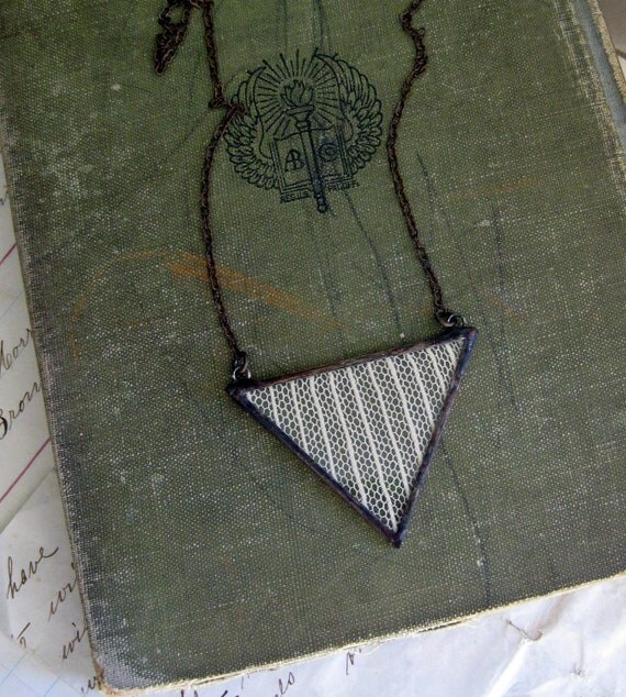 Lines and Lace Triangle Necklace Geometric Jewelry
