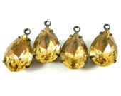 2 - Vintage Pear Shaped Faceted Stones in 1 Ring Black Antique Brass Prong Settings - Colorado Topaz - 14x10mm