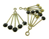 2 - RARE Vintage Art Deco Style Brass Dangle Finding Ear Jackets - Jet Black Swarovski Crystals -30x21mm