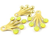 2 - RARE Brass Dangle Finding with Swarovski Crystals - Yellow Opal - 22x18mm