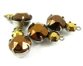 2 - Vintage Faceted Round Stones in 1 Ring 2 Stones Silver Antique Brass Prong Settings - Copper & Gold - 15x9mm .