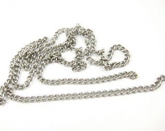 Vintage Stainless Steel Curb Chain - CN15 - 2 Feet