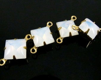 6 - Vintage Glass Square Stones in 2 Rings Closed Back Brass Prong Settings Opal White - 8x8mm