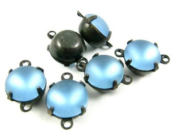 6 - Vintage Glass Round Stones in 2 Rings Black Antique Brass Prong Settings - Frosted Light Sapphire - 8mm