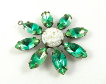Daisy Flower Pendant with Vintage Stones in Silver Antique Brass Setting - Green & White AB - 30mm - F053