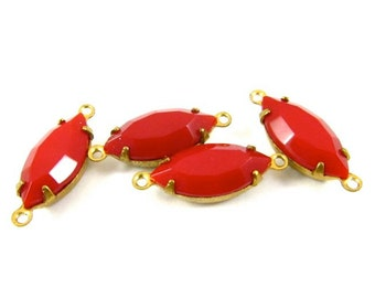 4 - Vintage Glass Faceted Navette Stones in 2 Rings Closed Back Brass Prong Settings - Opaque Red - 15x7mm