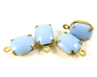 4  - Vintage Glass Octagon Stones in 1 Ring Closed Back Brass Prong Settings - Opaque Blue - 10x8mm