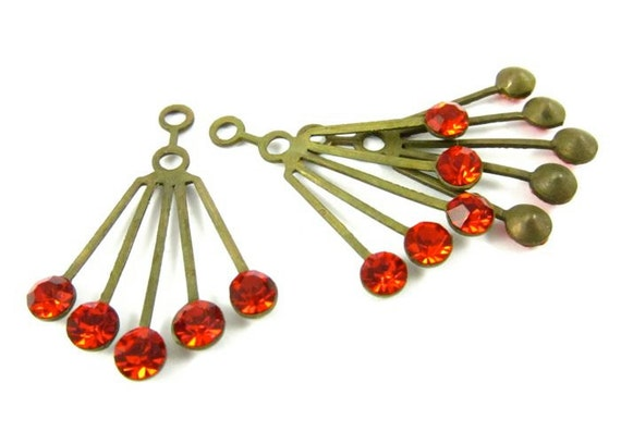 2 - RARE Vintage Art Deco Style Brass Dangle Finding with Swarovski Crystals - Light Siam Red .