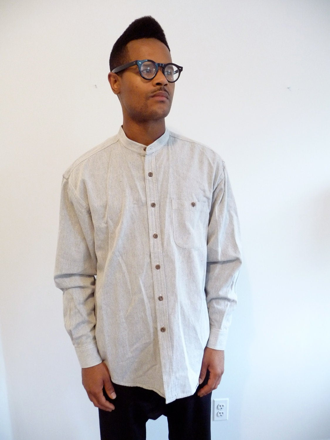 thick gray cotton button down collarless shirt