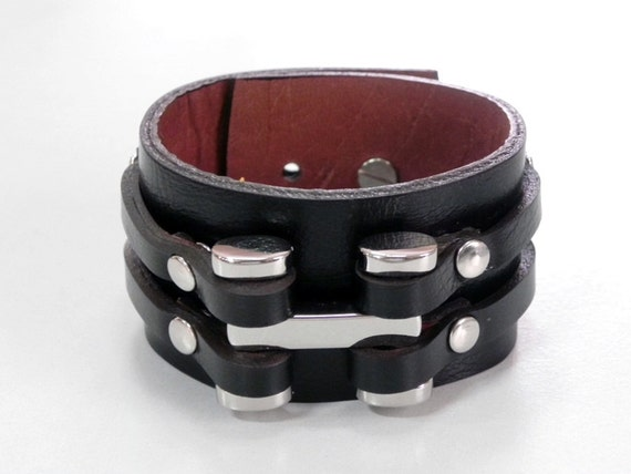 Black Leather Cuff Leather Bracelet with with Metal  Dumbbell Silver Tone