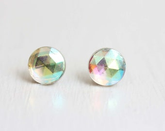 Prism Stud Earrings, Rainbow Stud Earrings, Mirror Stud Earrings, Faceted Stud Earrings, Glass Stud Earrings, Crystal Stud Earrings