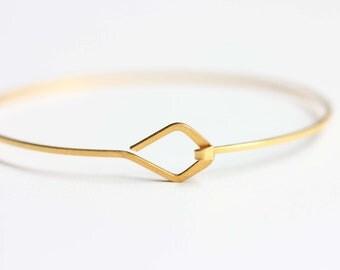 Diamond Hook Bracelet, Gold Wire Bracelet, Gold Bangle Bracelet, Gold Cuff Bracelet, Small Gold Bracelet, Geometric Gold Bracelet, Gold Cuff