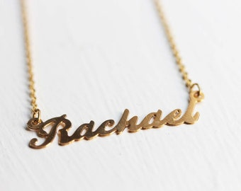 Rachael Name Necklace, Rachael Name Jewelry, Personalized Name Necklace, Name Necklace Gold, Rachael Gold Jewelry, Retro Name Necklace