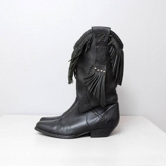 1980s cowboy boots black leather fringe by oldfaithfulvintage