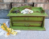 GRINCH Green - Upcycled - Vintage Wooden Valet - Jewelry Box - All in One - Display - Boho Chic