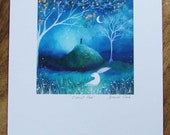 Special edition art print with gold leaf. Moonlit Hare . Amanda Clark.