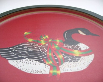 Vintage Christmas Metal Tray - Christmas Goose Round Tray -  Wang's Int'l Round Metal Tray With goose- Made in Taiwan 1980s